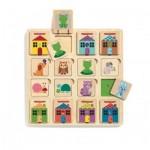 Djeco-01520 Puzzle en Bois - Puzzle Cabanimo