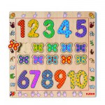 Djeco-01801 Encastrement 20 pièces en bois - Les chiffres de 1 à 10