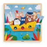 Djeco-01816 Puzzle Cadre en Bois - Puzzlo Boat