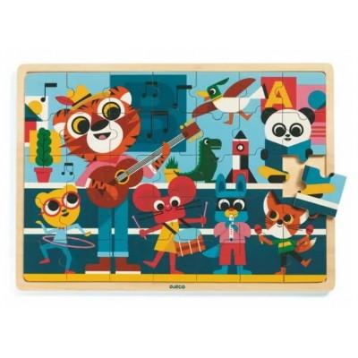 Djeco-01817 Puzzle Cadre en Bois - Puzzlo Music