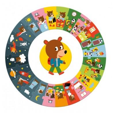 Djeco-07015 Puzzle Géant - La Journée
