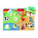 Djeco-07117 Puzzle 20 pièces géant - Tactiloferme