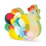 Djeco-07206 Puzzle Silhouette - Raoul ma poule