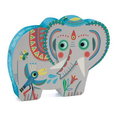 Djeco-07208 Puzzle Silhouette - Haathee Eléphant d'Asie