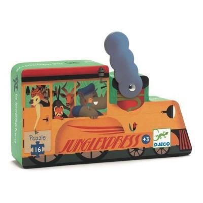 Djeco-07267 Puzzle Silhouette - La Locomotive