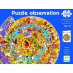 Djeco-07470 Puzzle 350 pièces rond - Puzzle observation : Histoire