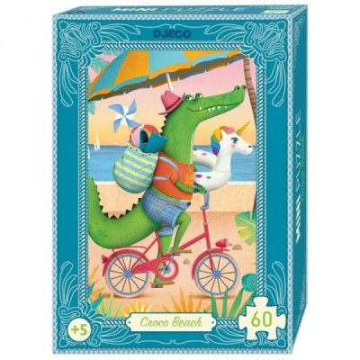Djeco-07678 Mini Puzzle - Croco Beach