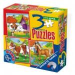 Dtoys-60457 Puzzles magnétiques de 6, 9 et 16 pièces : Cheval, Chien et Vache