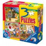 Dtoys-60778 3 Puzzles Magnétiques - Pinocchio, Hansel et Gretel, Blanche Neige