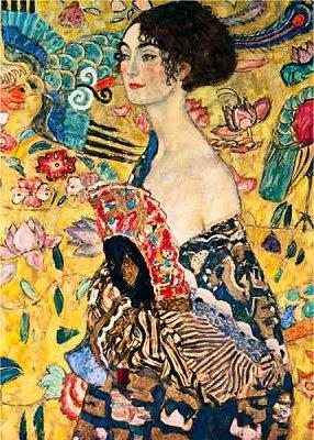 DToys-66923-KL03-(70159) Klimt Gustav - Femme à l'éventail (détail)