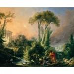 Dtoys-74980 François Boucher: Paysage Fluvial avec Temple Antique