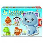 Educa-13473 5 Puzzles Baby - Les animaux