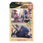 Educa-16804 2 Puzzles en Bois - Zootropolis