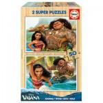 Educa-16950 2 Puzzles en Bois - Vaiana