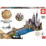Educa-17000 Puzzle 3D en Bois - Brooklyn Bridge, Manhattan Dream