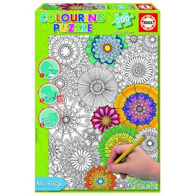 Educa-17090 Puzzle à Colorier - Jolies Fleurs