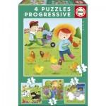 Educa-17145 4 Puzzles - Animaux de la Ferme