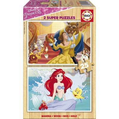 Educa-17164 2 Puzzles en Bois - Princesses Disney