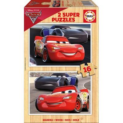 Educa-17172 2 Puzzles en Bois - Cars