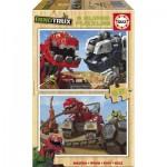 Educa-17271 2 Puzzles en Bois - Dreamworks - Dinotrux