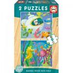 Educa-17617 2 Puzzles en Bois - Animaux Marins