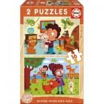 Educa-17618 2 Puzzles en Bois - Animaux