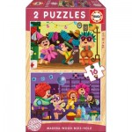 Educa-17619 2 Puzzles en Bois - Fête Costumée