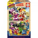 Educa-17622 2 Puzzles en Bois - Mickey and The Roadster Racers