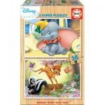 Educa-18079 Puzzle en Bois - Disney - Dumbo & Bambi