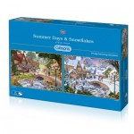 Gibsons-G5045 2 Puzzles - Steve Crisp - Summer Days & Snowflakes