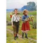 Gold-Puzzle-60720 Cesar Pattein: Enfants sur une Route de Campagne
