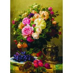 Gold-Puzzle-60904 Jean-Baptiste Robie : Still Life with Roses, Grapes and Plums