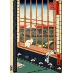 Grafika-Kids-00267 Pièces Magnétiques - Utagawa Hiroshige : Rizières d'Asakusa et Festival Torinomachi, 1857