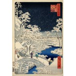 Grafika-Kids-00273 Utagawa Hiroshige : Drum bridge at Meguro and Sunset Hill, 1857
