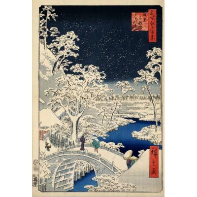 Grafika-Kids-00273 Utagawa Hiroshige : Drum bridge at Meguro and Sunset Hill, 1857