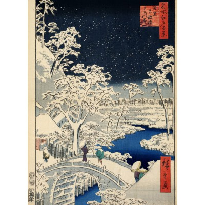 Grafika-Kids-00274 Utagawa Hiroshige : Drum bridge at Meguro and Sunset Hill, 1857