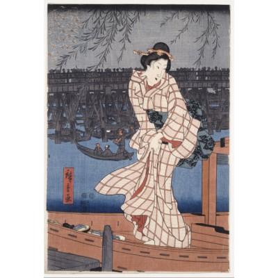 Grafika-Kids-00275 Pièces XXL - Utagawa Hiroshige : Evening on the Sumida River, 1847-1848