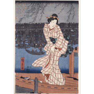 Grafika-Kids-00278 Pièces Magnétiques - Utagawa Hiroshige : Evening on the Sumida River, 1847-1848