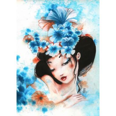 Grafika-Kids-00742 Pièces magnétiques - Misstigri : Blue Flowers
