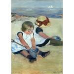 Grafika-Kids-01342 Mary Cassatt : Enfants jouant à la Plage, 1884