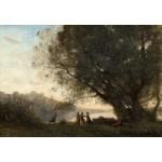 Grafika-Kids-01352 Jean-Baptiste-Camille Corot : Danse sous les Arbres au Bord du Lac, 1865-1870