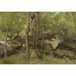 Grafika-Kids-01354 Jean-Baptiste-Camille Corot : Rochers en Forêt de Fontainebleau, 1860-1865