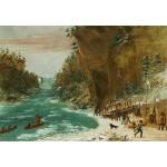 Grafika-Kids-01497 George Catlin : Campement de l'Expedition au-dessous des Chutes de Niagara. Le 20 janvier 1679, 1847