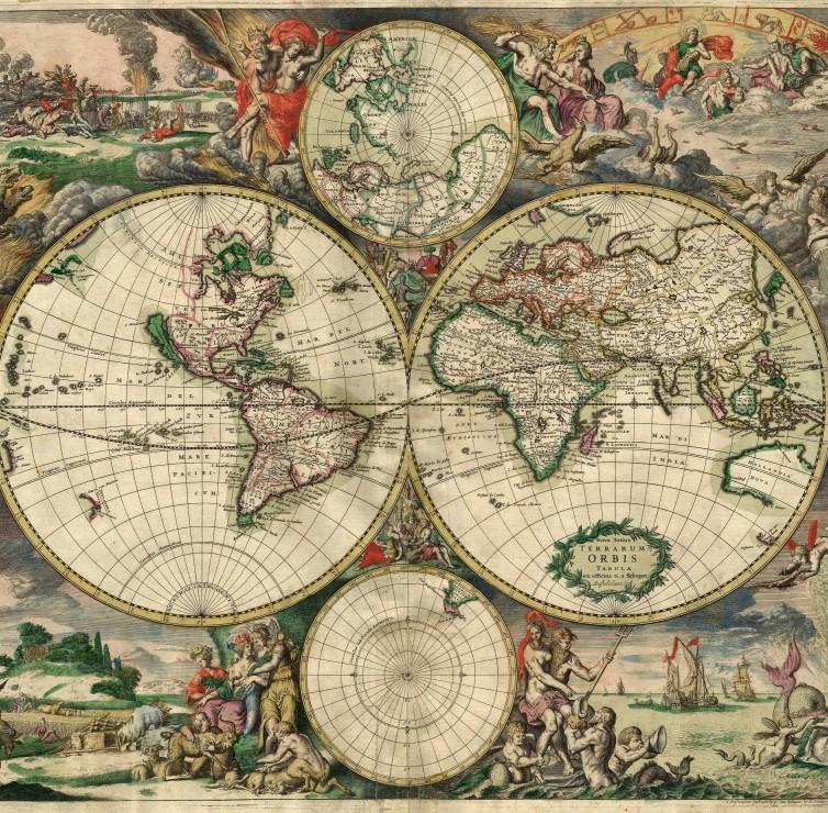 Populaire Puzzle Carte du Monde, Produced in Amsterdam, 1689 Grafika-00641  KL03
