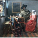 Grafika-00148 Vermeer Johannes : La Jeune Fille au Verre de Vin, 1659-1660
