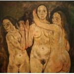Grafika-00219 Egon Schiele : Trois Femmes Debout, 1918
