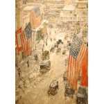 Grafika-00268 Childe Hassam : Flags on 57th Street, Winter, 1918
