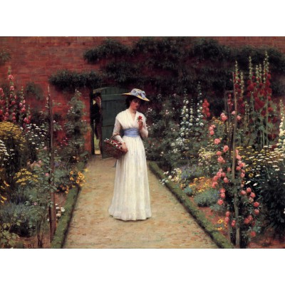 Grafika-00370 Edmund Blair Leighton : Lady in a Garden