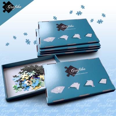 Grafika-00499 Lot de 6 Boites de Tri Bleues - 24 x 22 x 2.5 cm