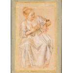 Grafika-00511 Antoine Watteau : Femme Assise, 1716-1717